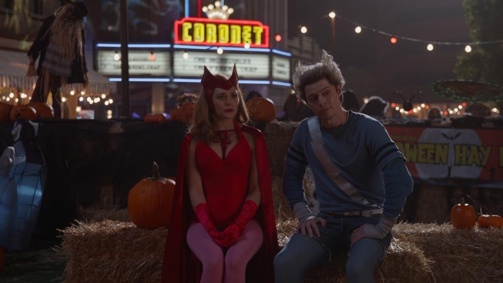 Elizabeth Olsen as Wanda Maximoff and Evan Peters as Pietro Maximoff on 'WandaVision'